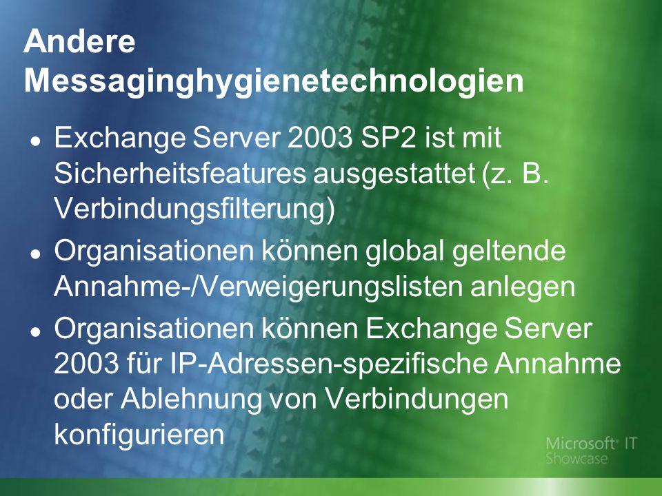 Andere Messaginghygienetechnologien ● Exchange Server 2003 SP2 ist mit Sicherheitsfeatures ausgestattet (z.