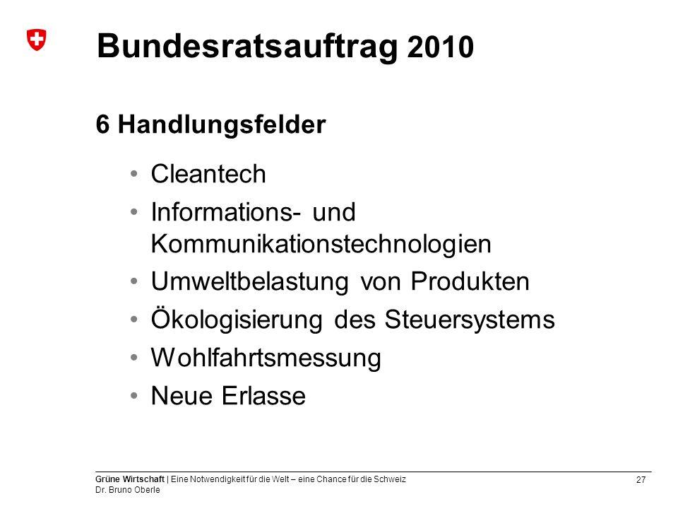 27 Grüne Wirtschaft | Eine Notwendigkeit für die Welt – eine Chance für die Schweiz Dr. Bruno Oberle Bundesratsauftrag 2010 6 Handlungsfelder Cleantec