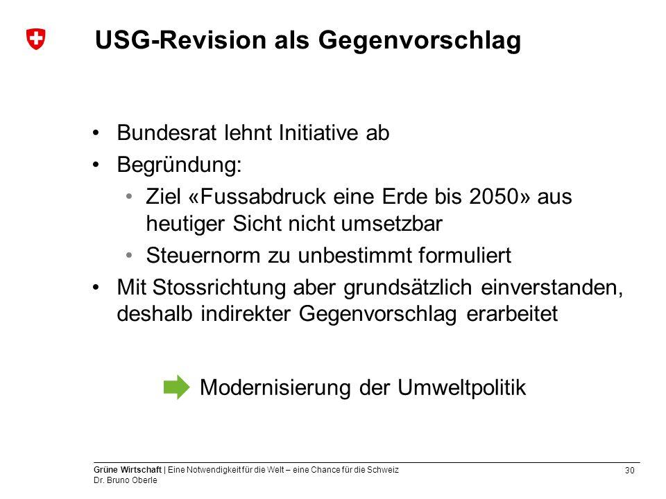 30 Grüne Wirtschaft | Eine Notwendigkeit für die Welt – eine Chance für die Schweiz Dr. Bruno Oberle USG-Revision als Gegenvorschlag Bundesrat lehnt I