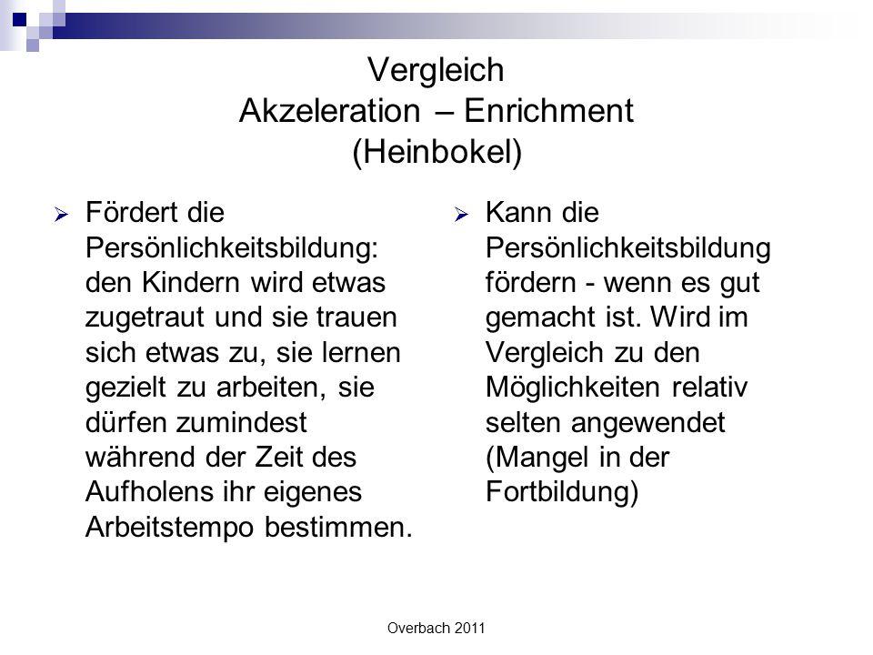 Overbach 2011 Vergleich Akzeleration – Enrichment (Heinbokel)  Fördert die Persönlichkeitsbildung: den Kindern wird etwas zugetraut und sie trauen si