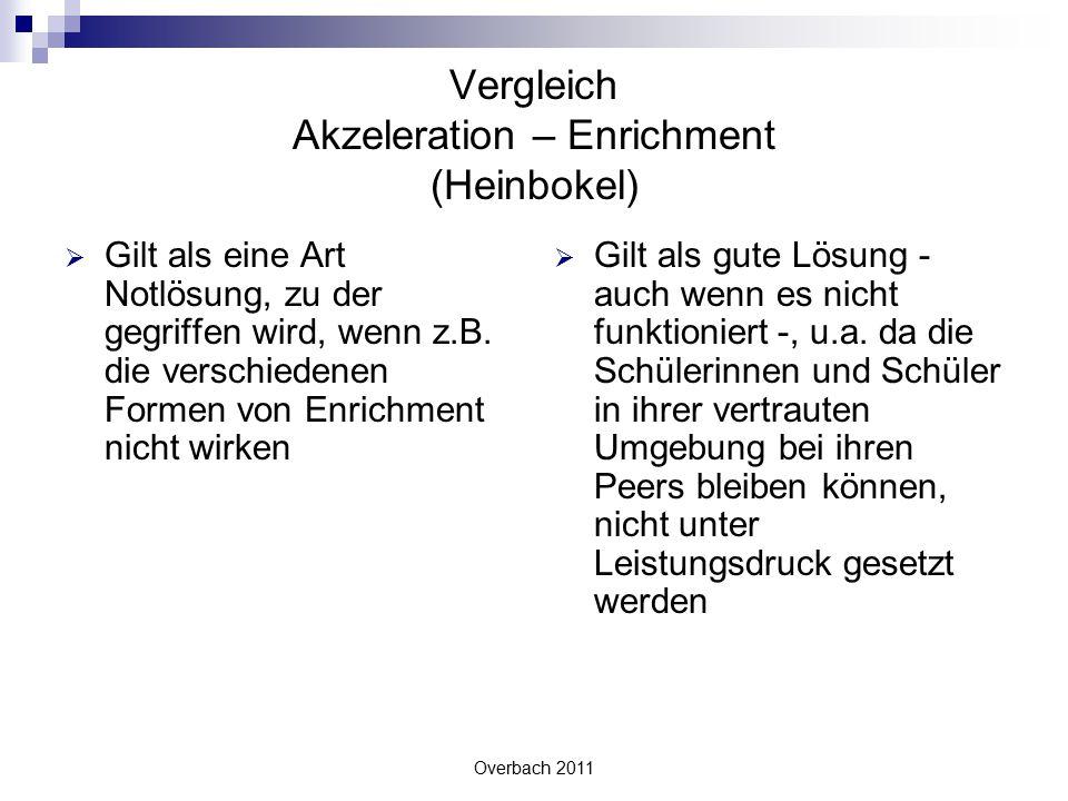 Overbach 2011 Vergleich Akzeleration – Enrichment (Heinbokel)  Gilt als eine Art Notlösung, zu der gegriffen wird, wenn z.B. die verschiedenen Formen