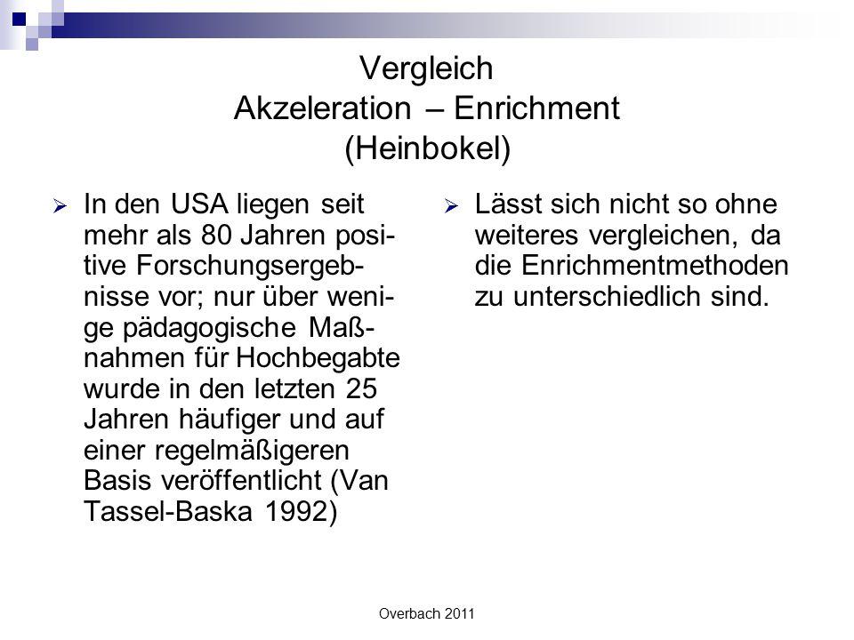 Overbach 2011 Vergleich Akzeleration – Enrichment (Heinbokel)  In den USA liegen seit mehr als 80 Jahren posi- tive Forschungsergeb- nisse vor; nur ü