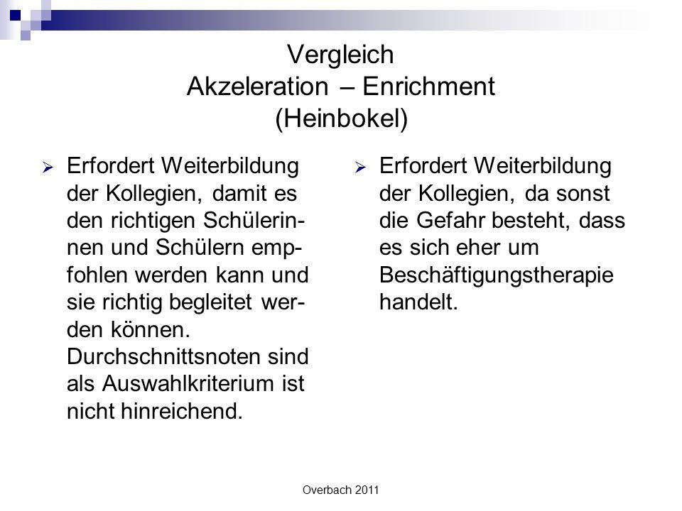 Overbach 2011 Vergleich Akzeleration – Enrichment (Heinbokel)  Erfordert Weiterbildung der Kollegien, damit es den richtigen Schülerin- nen und Schül