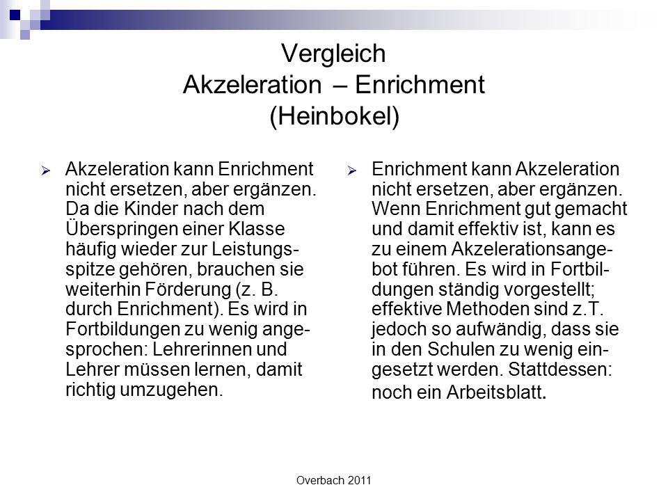 Overbach 2011 Vergleich Akzeleration – Enrichment (Heinbokel)  Akzeleration kann Enrichment nicht ersetzen, aber ergänzen. Da die Kinder nach dem Übe
