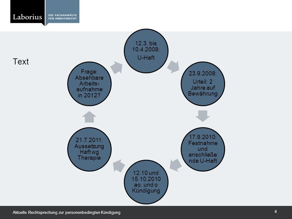 Text Aktuelle Rechtsprechung zur personenbedingten Kündigung 4 12.3. bis 10.4.2008: U-Haft 23.9.2008: Urteil: 2 Jahre auf Bewährung 17.9.2010: Festnah