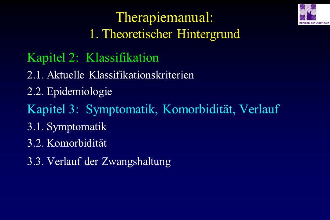 Therapiemanual: 1. Theoretischer Hintergrund Kapitel 2:Klassifikation 2.1.Aktuelle Klassifikationskriterien 2.2.Epidemiologie Kapitel 3:Symptomatik, K