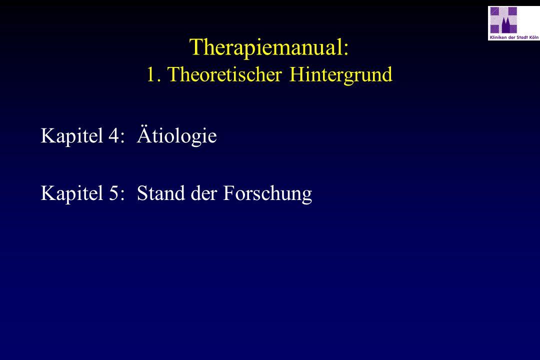 Therapiemanual: 1. Theoretischer Hintergrund Kapitel 4:Ätiologie Kapitel 5:Stand der Forschung