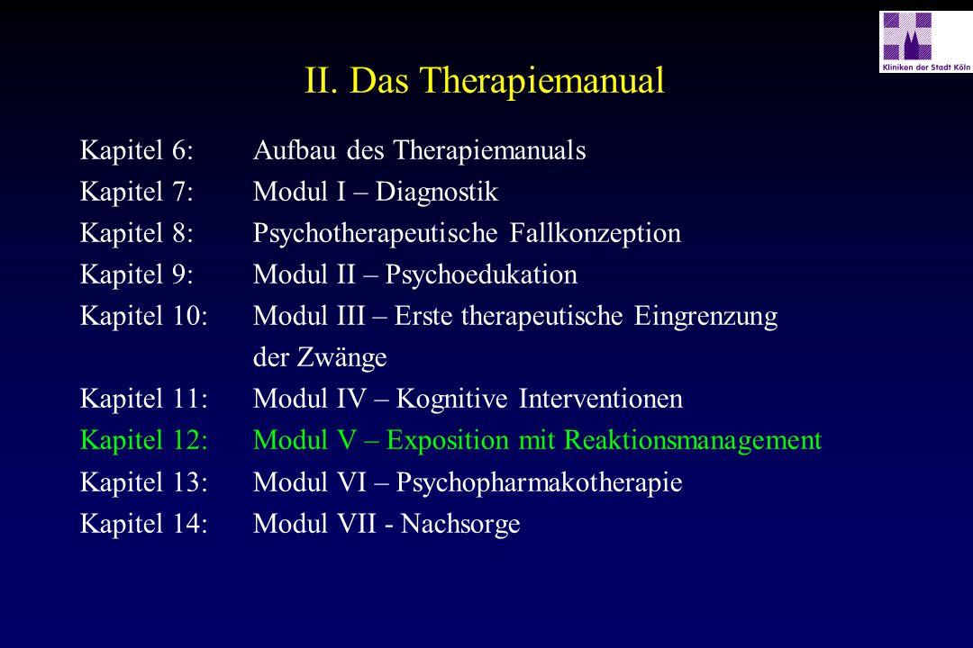 II. Das Therapiemanual Kapitel 6:Aufbau des Therapiemanuals Kapitel 7:Modul I – Diagnostik Kapitel 8:Psychotherapeutische Fallkonzeption Kapitel 9:Mod