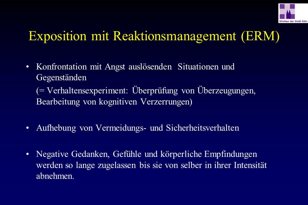 Exposition mit Reaktionsmanagement (ERM) Konfrontation mit Angst auslösenden Situationen und Gegenständen (= Verhaltensexperiment: Überprüfung von Übe