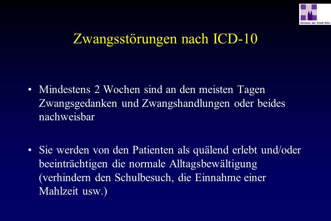Zwangsstörungen nach ICD-10 Als eigene Gedanken/Handlungen und Impulse für den Patienten erkennbar Wenigstens einem Gedanken oder einer Handlung muß noch, wenn auch erfolglos, Widerstand geleistet werden Der Gedanke oder die Handlungsausführung dürfen nicht an sich angenehm sein Die Gedanken, Vorstellungen oder Impulse müssen sich in unangenehmer Weise wiederholen