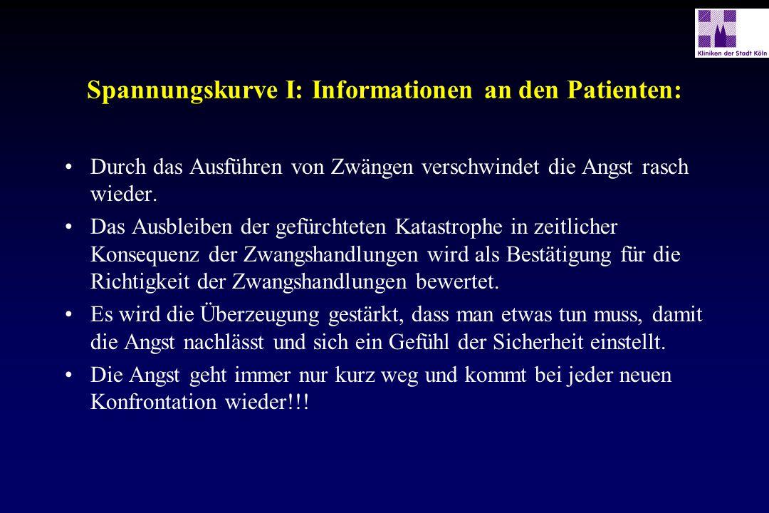 Spannungskurve I: Informationen an den Patienten: Durch das Ausführen von Zwängen verschwindet die Angst rasch wieder. Das Ausbleiben der gefürchteten