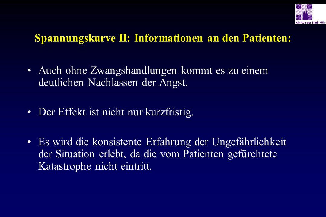 Spannungskurve II: Informationen an den Patienten: Auch ohne Zwangshandlungen kommt es zu einem deutlichen Nachlassen der Angst. Der Effekt ist nicht