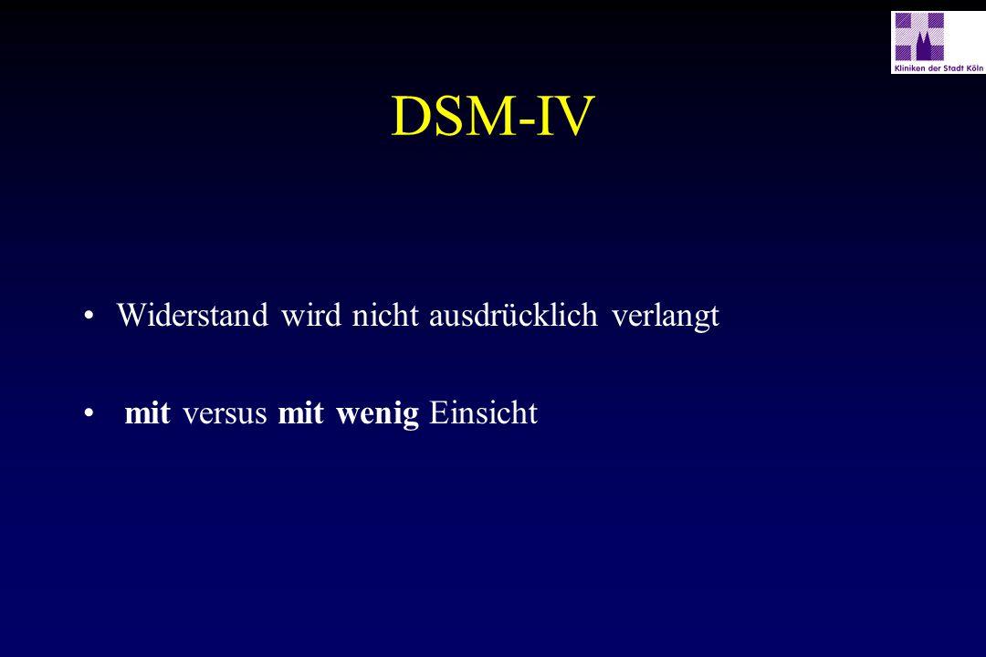 DSM-IV Widerstand wird nicht ausdrücklich verlangt mit versus mit wenig Einsicht