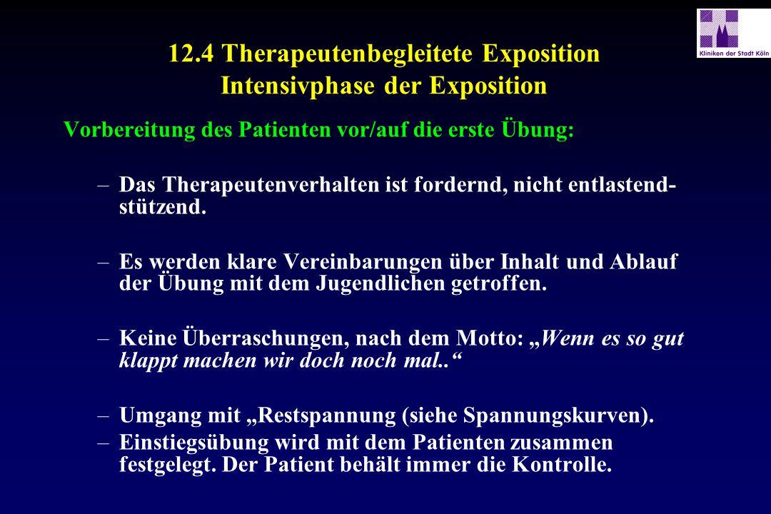 12.4 Therapeutenbegleitete Exposition Intensivphase der Exposition Vorbereitung des Patienten vor/auf die erste Übung: –Das Therapeutenverhalten ist f