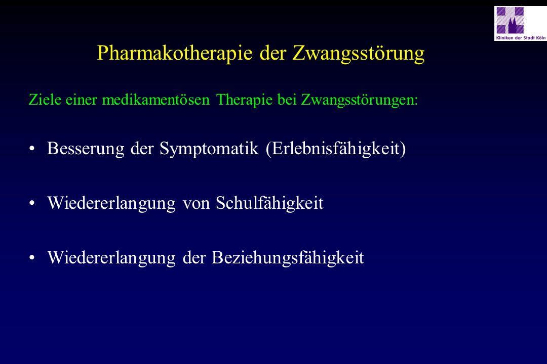 Pharmakotherapie der Zwangsstörung Ziele einer medikamentösen Therapie bei Zwangsstörungen: Besserung der Symptomatik (Erlebnisfähigkeit) Wiedererlang