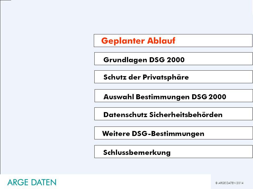© ARGE DATEN 2014 ARGE DATEN Grundlagen DSG 2000 Schlussbemerkung Schutz der Privatsphäre Auswahl Bestimmungen DSG 2000 Datenschutz Sicherheitsbehörde