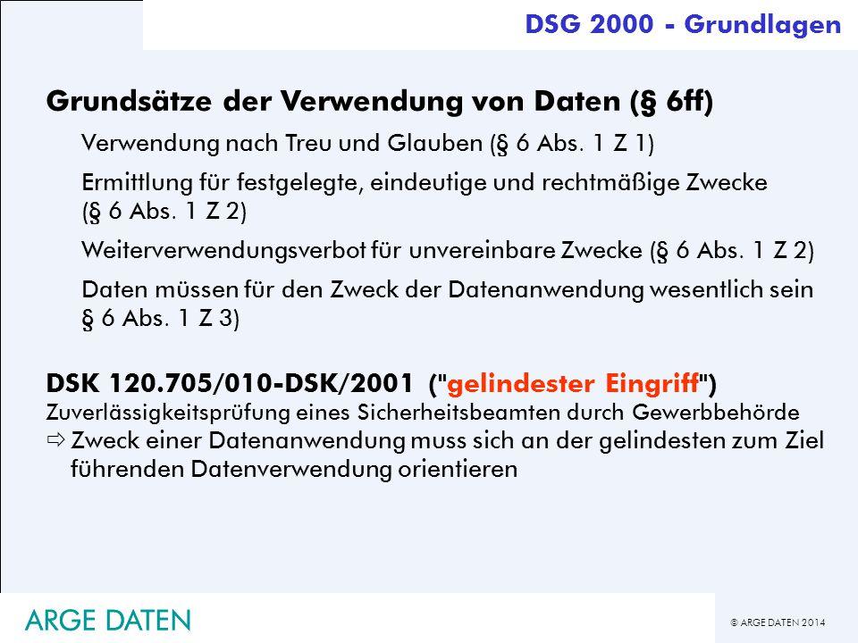 © ARGE DATEN 2014 ARGE DATEN DSG 2000 - Grundlagen Grundsätze der Verwendung von Daten (§ 6ff) Verwendung nach Treu und Glauben (§ 6 Abs. 1 Z 1) Ermit