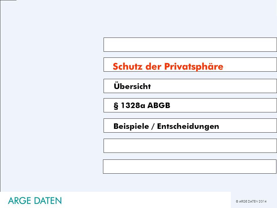 © ARGE DATEN 2014 ARGE DATEN Schutz der Privatsphäre § 1328a ABGB Beispiele / Entscheidungen Übersicht ARGE DATEN