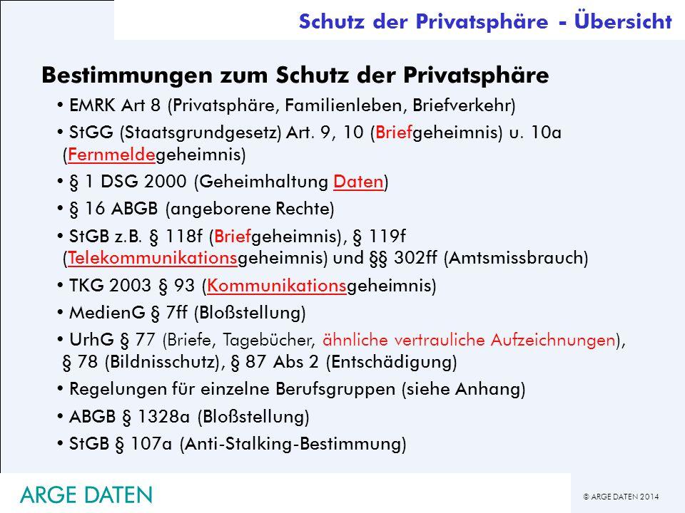 © ARGE DATEN 2014 ARGE DATEN Bestimmungen zum Schutz der Privatsphäre EMRK Art 8 (Privatsphäre, Familienleben, Briefverkehr) StGG (Staatsgrundgesetz)