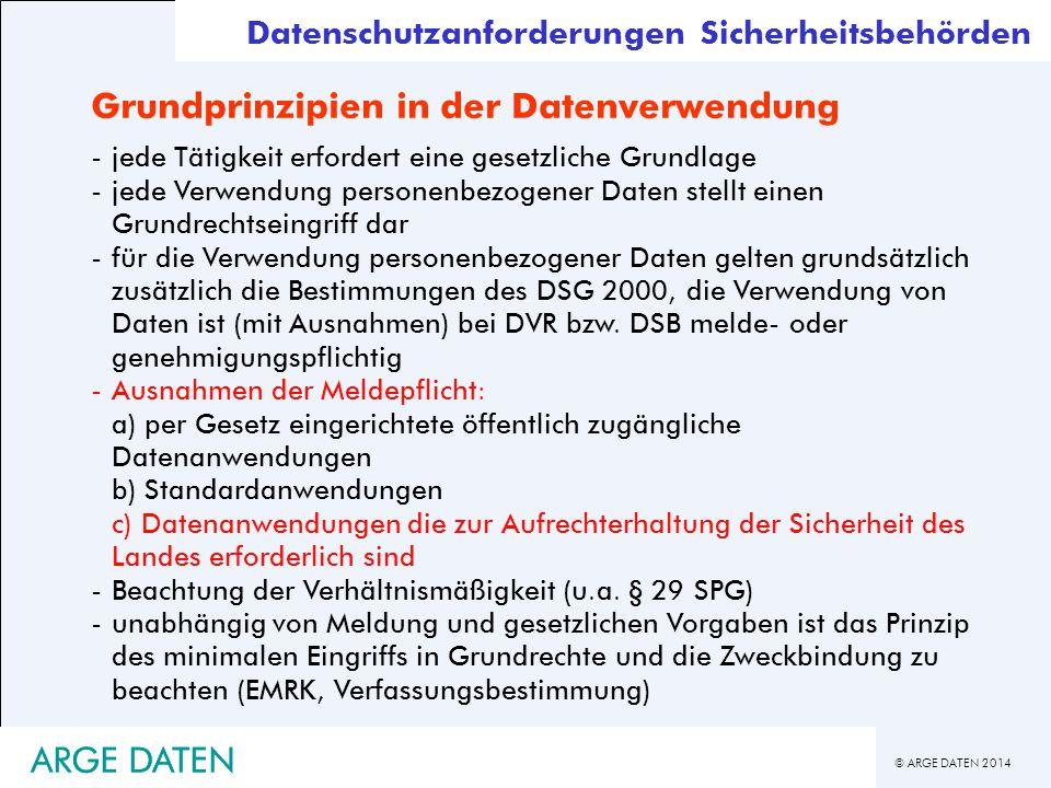© ARGE DATEN 2014 ARGE DATEN Grundprinzipien in der Datenverwendung -jede Tätigkeit erfordert eine gesetzliche Grundlage -jede Verwendung personenbezo