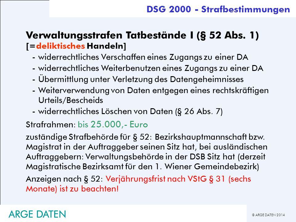 © ARGE DATEN 2014 ARGE DATEN Verwaltungsstrafen Tatbestände I (§ 52 Abs. 1) [=deliktisches Handeln] -widerrechtliches Verschaffen eines Zugangs zu ein