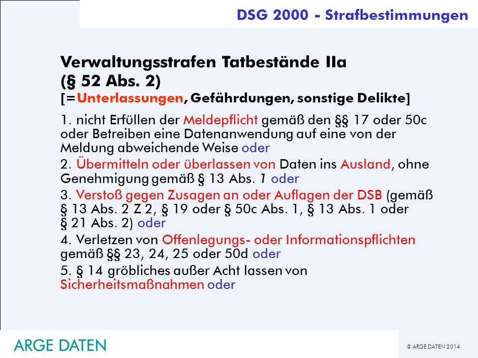 © ARGE DATEN 2014 ARGE DATEN Verwaltungsstrafen Tatbestände IIa (§ 52 Abs. 2) [=Unterlassungen, Gefährdungen, sonstige Delikte] 1. nicht Erfüllen der