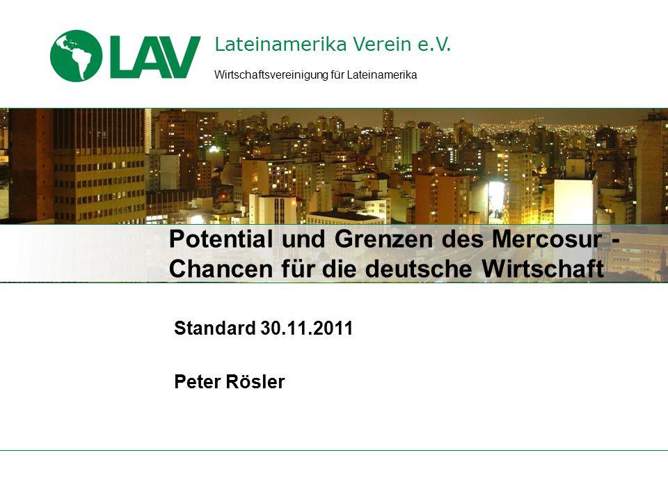 Standard Mercosur 30.11.11 Entwicklung des deutschen Außenhandels mit Brasilien in Mrd.