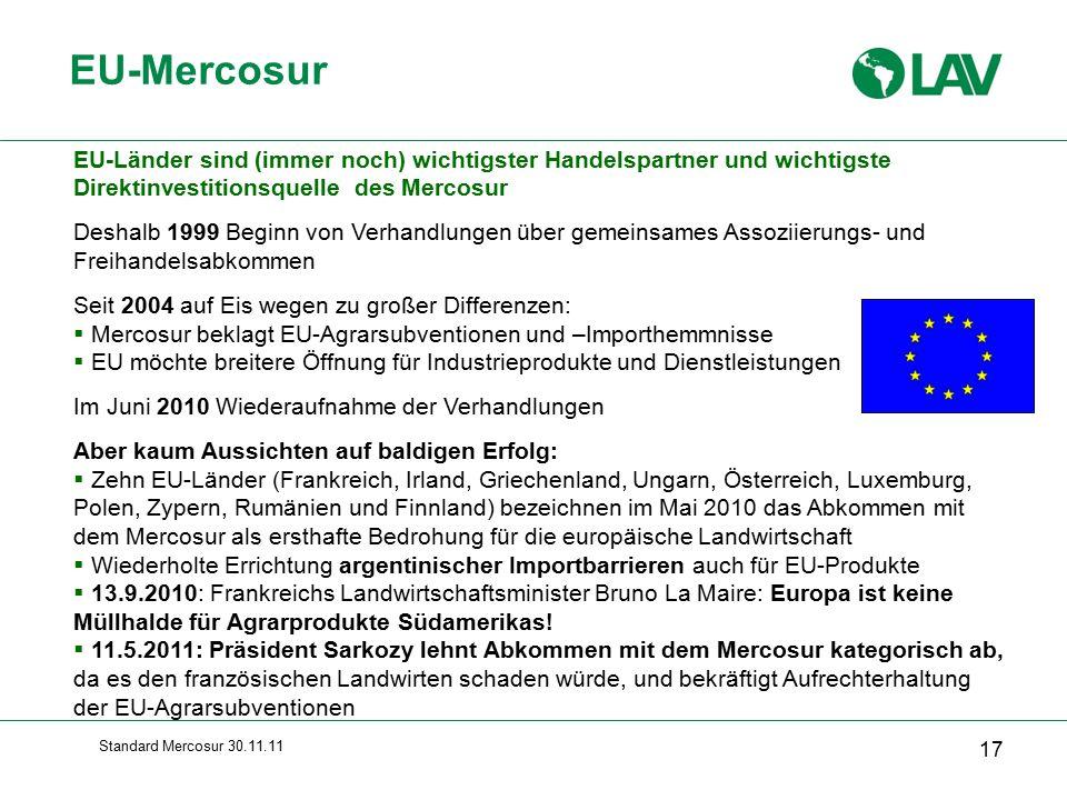 Standard Mercosur 30.11.11 EU-Mercosur 17 EU-Länder sind (immer noch) wichtigster Handelspartner und wichtigste Direktinvestitionsquelle des Mercosur Deshalb 1999 Beginn von Verhandlungen über gemeinsames Assoziierungs- und Freihandelsabkommen Seit 2004 auf Eis wegen zu großer Differenzen:  Mercosur beklagt EU-Agrarsubventionen und –Importhemmnisse  EU möchte breitere Öffnung für Industrieprodukte und Dienstleistungen Im Juni 2010 Wiederaufnahme der Verhandlungen Aber kaum Aussichten auf baldigen Erfolg:  Zehn EU-Länder (Frankreich, Irland, Griechenland, Ungarn, Österreich, Luxemburg, Polen, Zypern, Rumänien und Finnland) bezeichnen im Mai 2010 das Abkommen mit dem Mercosur als ersthafte Bedrohung für die europäische Landwirtschaft  Wiederholte Errichtung argentinischer Importbarrieren auch für EU-Produkte  13.9.2010: Frankreichs Landwirtschaftsminister Bruno La Maire: Europa ist keine Müllhalde für Agrarprodukte Südamerikas.