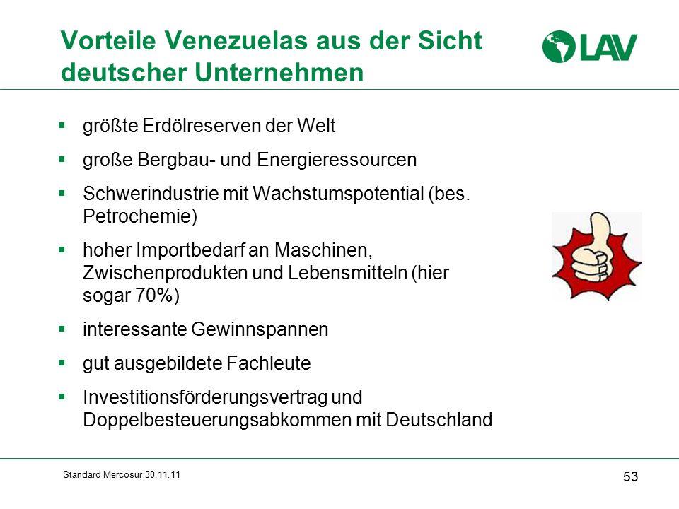 Standard Mercosur 30.11.11 Vorteile Venezuelas aus der Sicht deutscher Unternehmen  größte Erdölreserven der Welt  große Bergbau- und Energieressourcen  Schwerindustrie mit Wachstumspotential (bes.