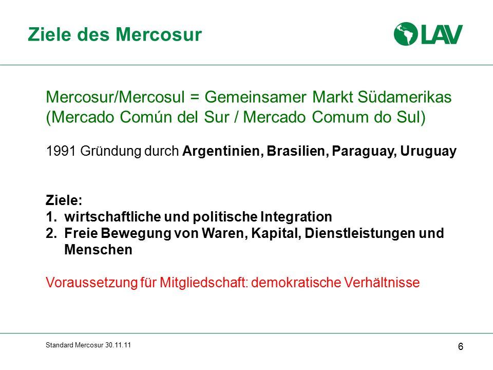 Standard Mercosur 30.11.11 Zufluss ausländischer Direktinvestitionen nach Brasilien (Mrd.