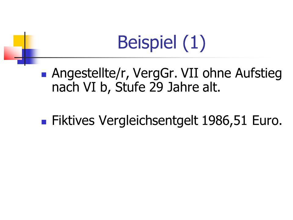 Beispiel (1) Angestellte/r, VergGr.VII ohne Aufstieg nach VI b, Stufe 29 Jahre alt.