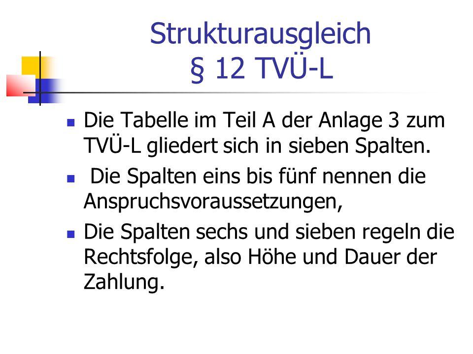 Strukturausgleich § 12 TVÜ-L Die Tabelle im Teil A der Anlage 3 zum TVÜ-L gliedert sich in sieben Spalten.