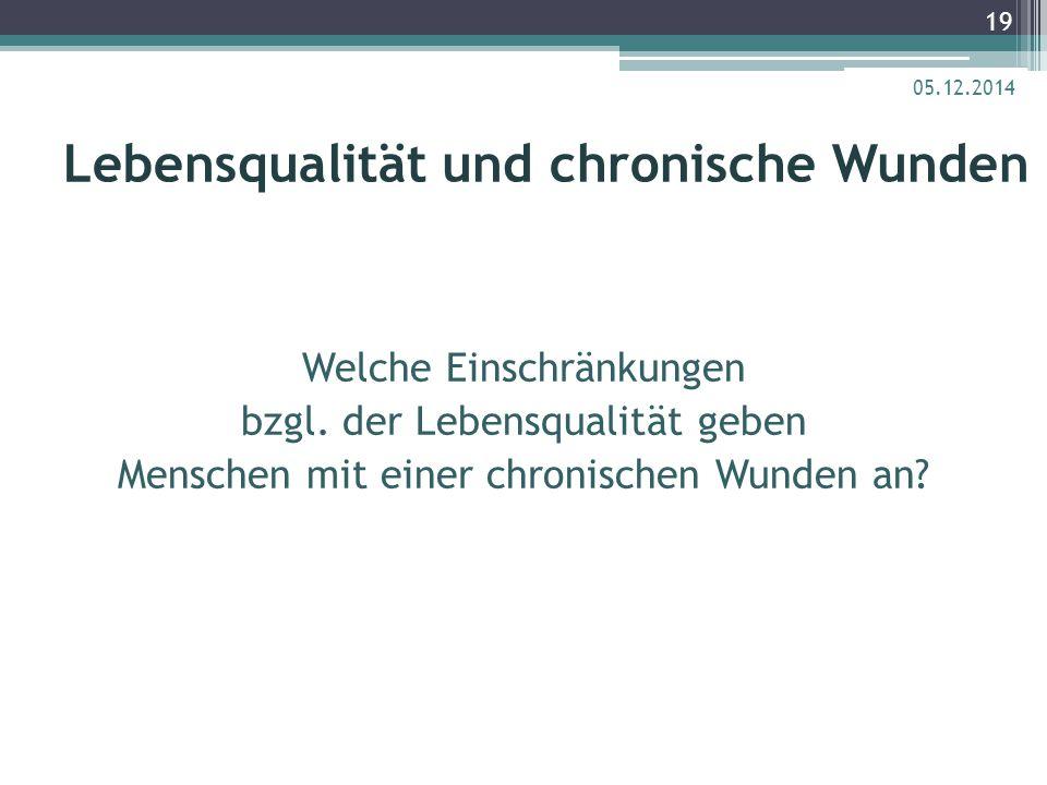 Lebensqualität und chronische Wunden Welche Einschränkungen bzgl. der Lebensqualität geben Menschen mit einer chronischen Wunden an? 05.12.2014 19
