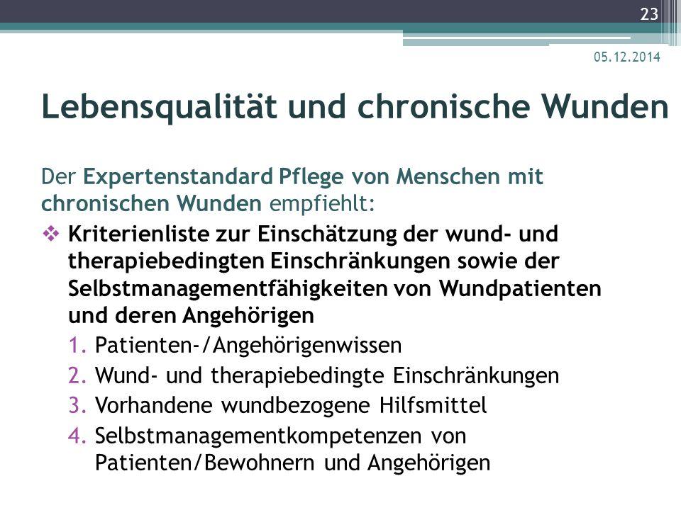 Lebensqualität und chronische Wunden Der Expertenstandard Pflege von Menschen mit chronischen Wunden empfiehlt:  Kriterienliste zur Einschätzung der