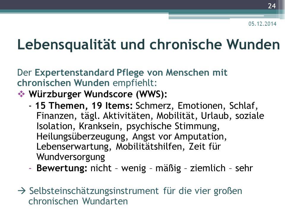 Lebensqualität und chronische Wunden Der Expertenstandard Pflege von Menschen mit chronischen Wunden empfiehlt:  Würzburger Wundscore (WWS): - 15 The
