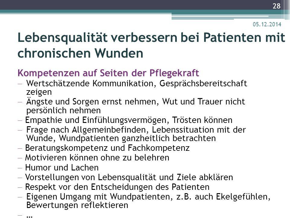 Lebensqualität verbessern bei Patienten mit chronischen Wunden Kompetenzen auf Seiten der Pflegekraft  Wertschätzende Kommunikation, Gesprächsbereits