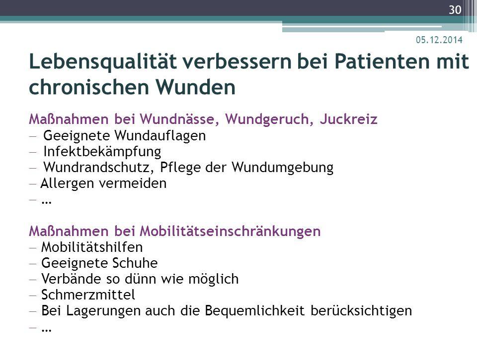 Lebensqualität verbessern bei Patienten mit chronischen Wunden Maßnahmen bei Wundnässe, Wundgeruch, Juckreiz  Geeignete Wundauflagen  Infektbekämpfu