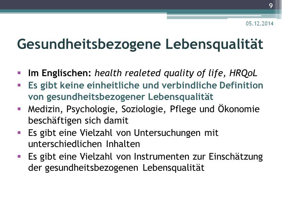 Gesundheitsbezogene Lebensqualität  Im Englischen: health realeted quality of life, HRQoL  Es gibt keine einheitliche und verbindliche Definition vo
