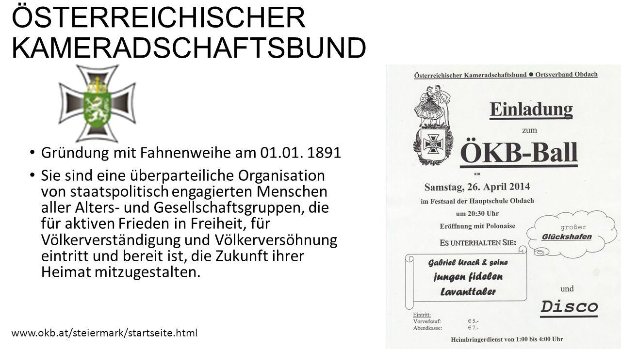 ÖSTERREICHISCHER KAMERADSCHAFTSBUND Gründung mit Fahnenweihe am 01.01.