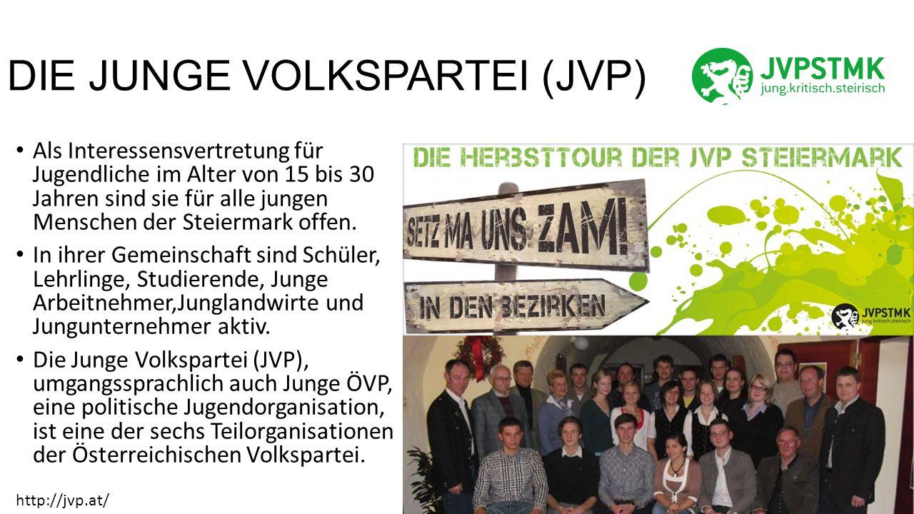 DIE JUNGE VOLKSPARTEI (JVP) Als Interessensvertretung für Jugendliche im Alter von 15 bis 30 Jahren sind sie für alle jungen Menschen der Steiermark offen.