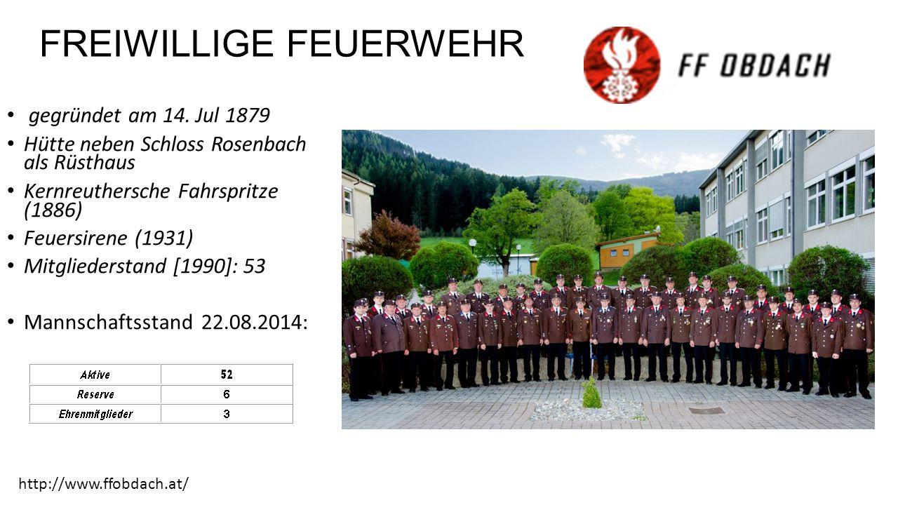 FREIWILLIGE FEUERWEHR gegründet am 14.
