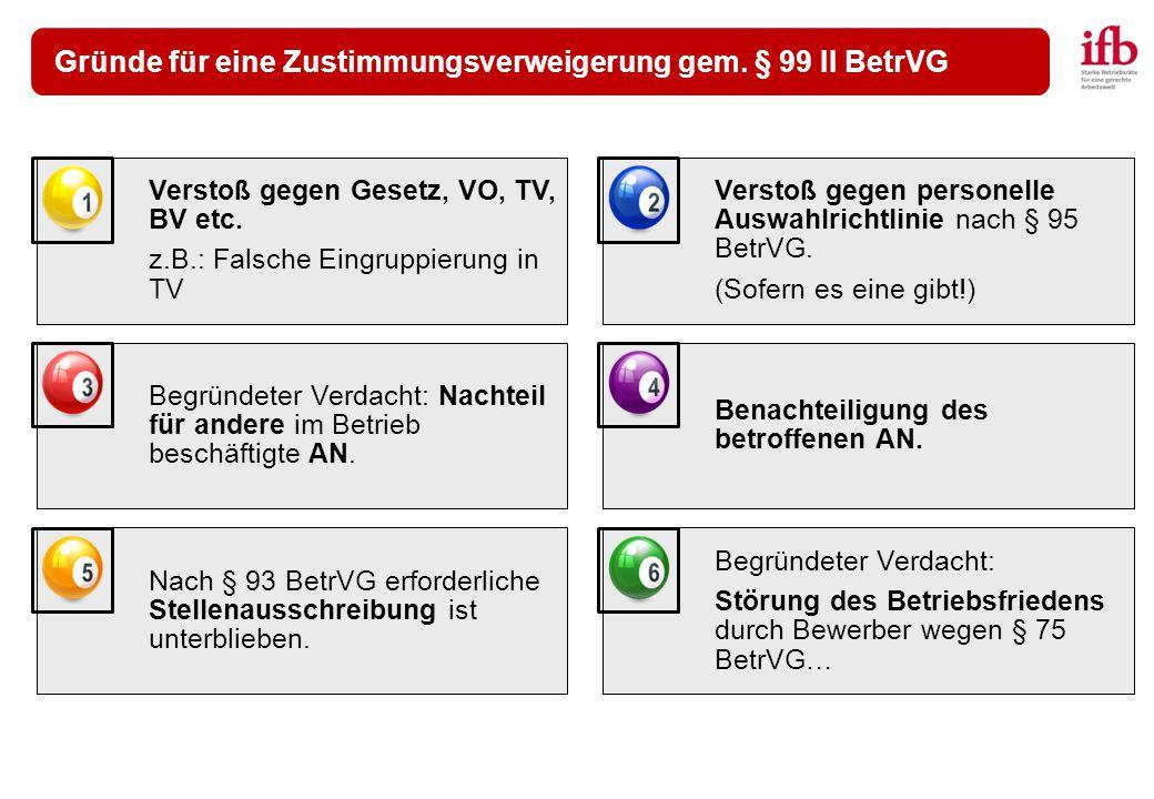 Gründe für eine Zustimmungsverweigerung gem. § 99 II BetrVG Verstoß gegen Gesetz, VO, TV, BV etc. z.B.: Falsche Eingruppierung in TV Verstoß gegen per