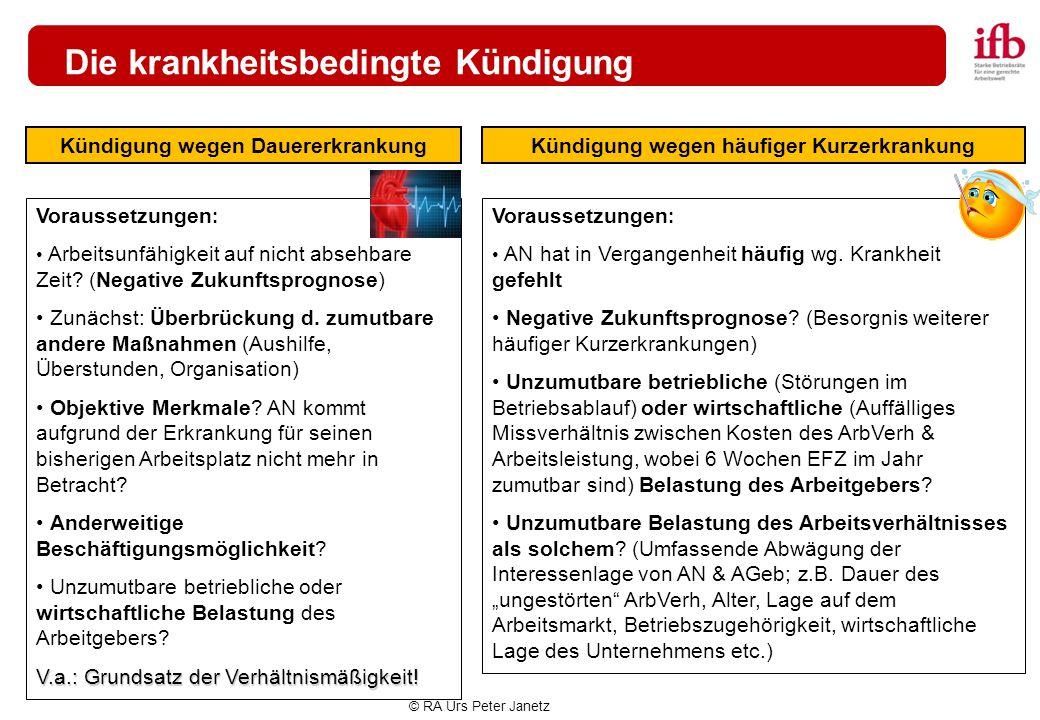 © RA Urs Peter Janetz Die krankheitsbedingte Kündigung Kündigung wegen DauererkrankungKündigung wegen häufiger Kurzerkrankung Voraussetzungen : Arbeit