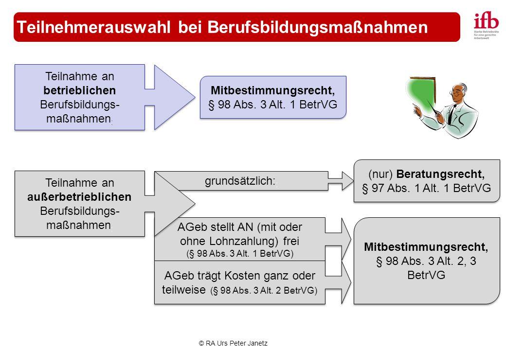 © RA Urs Peter Janetz grundsätzlich: : Teilnehmerauswahl bei Berufsbildungsmaßnahmen Mitbestimmungsrecht, § 98 Abs. 3 Alt. 1 BetrVG Teilnahme an betri