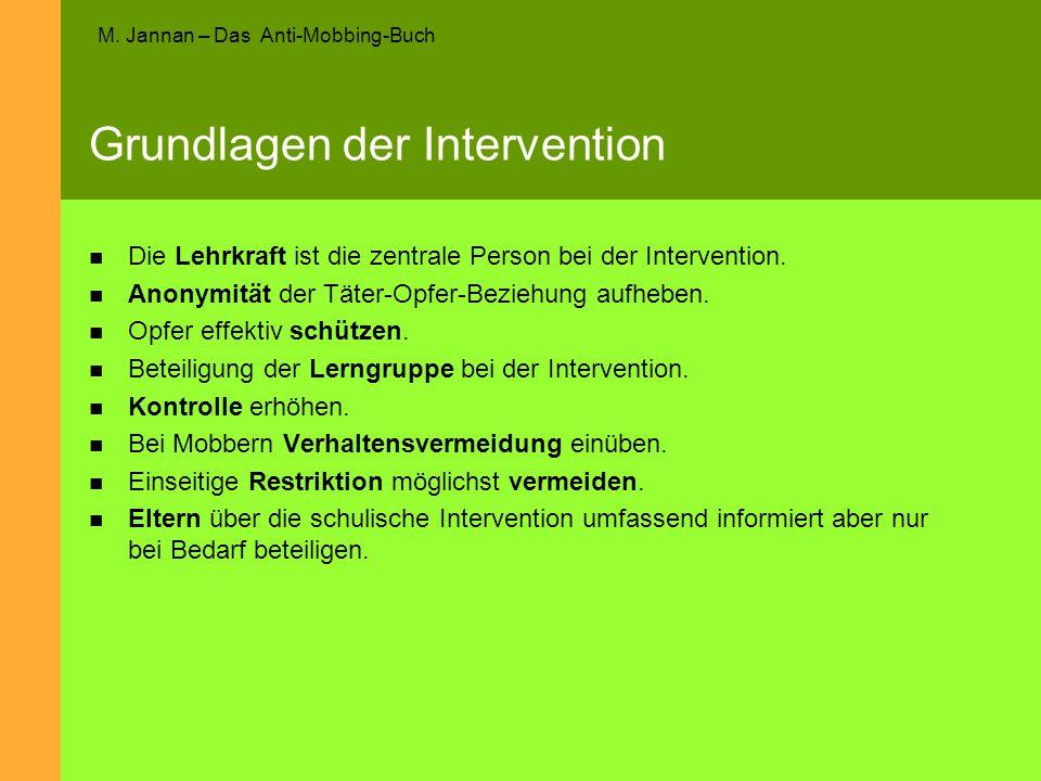 M. Jannan – Das Anti-Mobbing-Buch Grundlagen der Intervention Die Lehrkraft ist die zentrale Person bei der Intervention. Anonymität der Täter-Opfer-B