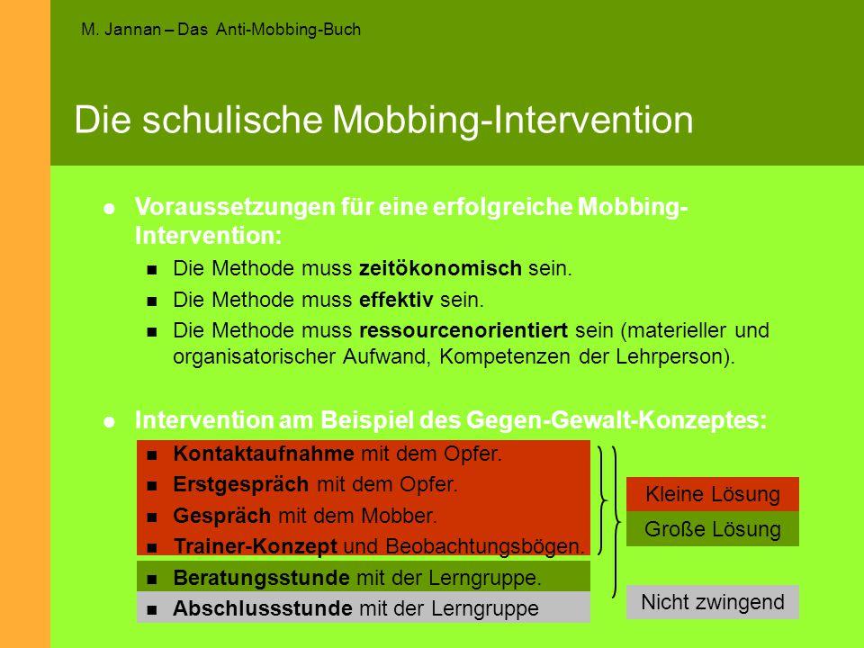 M. Jannan – Das Anti-Mobbing-Buch Die schulische Mobbing-Intervention Kleine Lösung Große Lösung Nicht zwingend Voraussetzungen für eine erfolgreiche