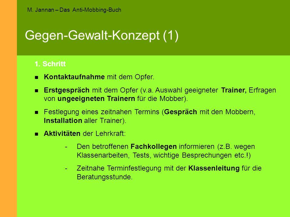 M. Jannan – Das Anti-Mobbing-Buch Gegen-Gewalt-Konzept (1) 1. Schritt Kontaktaufnahme mit dem Opfer. Erstgespräch mit dem Opfer (v.a. Auswahl geeignet