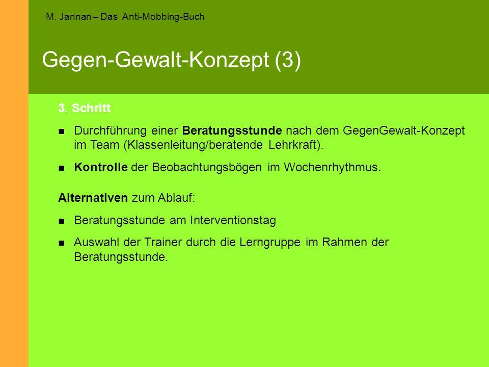 M. Jannan – Das Anti-Mobbing-Buch Gegen-Gewalt-Konzept (3) 3. Schritt Durchführung einer Beratungsstunde nach dem GegenGewalt-Konzept im Team (Klassen