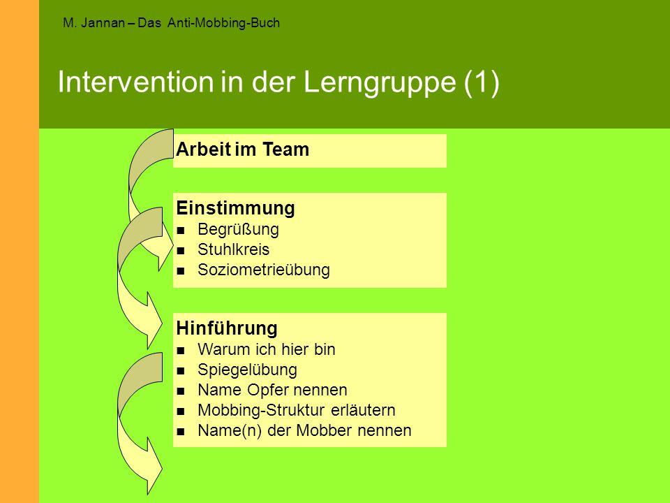 M. Jannan – Das Anti-Mobbing-Buch Intervention in der Lerngruppe (1) Einstimmung Begrüßung Stuhlkreis Soziometrieübung Hinführung Warum ich hier bin S