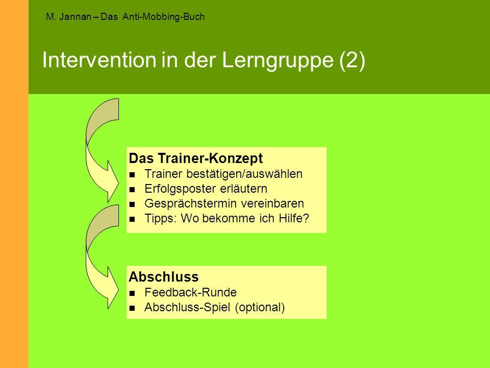 M. Jannan – Das Anti-Mobbing-Buch Intervention in der Lerngruppe (2) Abschluss Feedback-Runde Abschluss-Spiel (optional) Das Trainer-Konzept Trainer b
